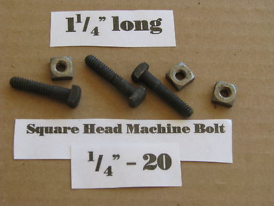 """Antique 1/4' -20 X 1 1/4""""  Square Head Bolts with Nuts  NOS LOT of 10"""