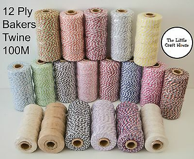 100% Cotton Bakers Twine 100m 12ply Roll Baker's 110 Yard Colour Coloured Spool