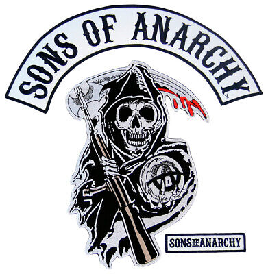 Crime Drama TV Show Sons of Anarchy Text and Arched Reaper Logo Patch Set