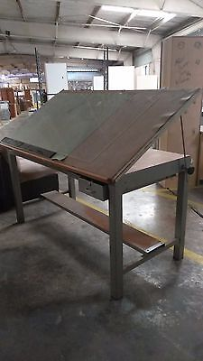 Vintage Industrial Era Metal Architects Drafting Table STACOR In Good Condition