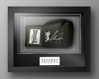 Anthony Joshua Signed Black Lonsdale Boxing Glove In Our Elegance Box Frame