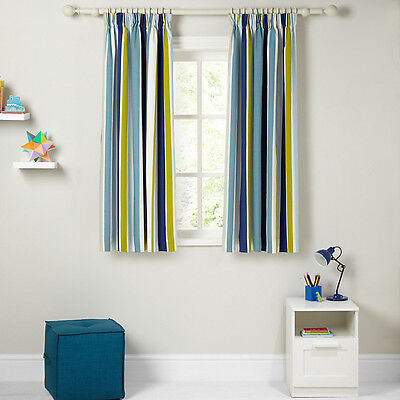 Little Home Blackout Lined Curtains Robotica Harrison Striped Pencil Pleat New