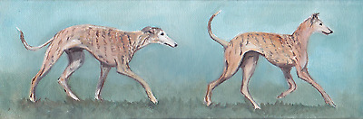Greyhound Original Oil Painting on Canvas 12x4 Signed
