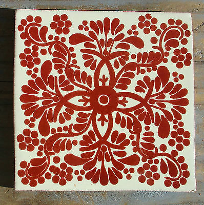 """10 Talavera Mexican 4"""" tile pottery hand painted traditional Veronica Rust white"""