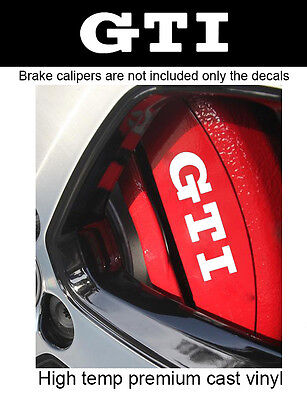 6 X vinyl car graphic GTI brake caliper decal sticker compatible with VW (WHITE)