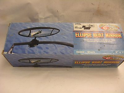"CIPA 02002-Black Ellipse 20/20 Rearview Boat Mirror 4""x11"""