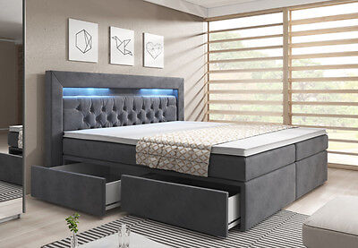 boxspringbett 180x200 bettkasten samt grau topper led kopfteil bett matratze eur 799 00. Black Bedroom Furniture Sets. Home Design Ideas