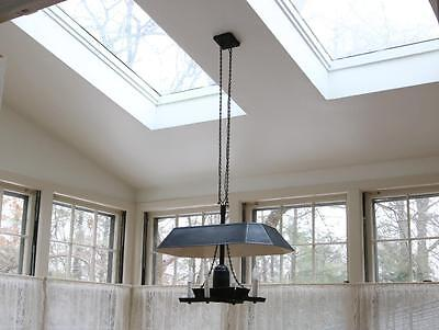 VTG 1960s Black Tole French Hanging Chandelier Bouilette Style Shade Provincial