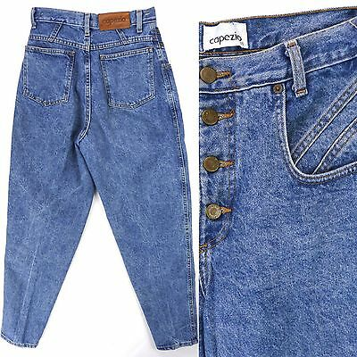 Vintage 80s Capezio Blue Button Fly Tapered High Waist Mom Jeans Sz 7 28x32