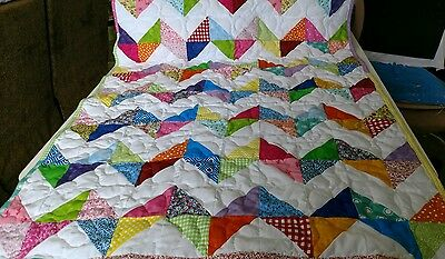 Multi Colored Chevron Baby Lap Crib Quilt Girl Boy Handmade Handcrafted Pieced