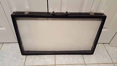 X-Large Black Glass Top with Handle Portable Sales Display Case Plastic Cover