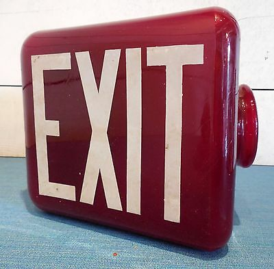 Ruby Exit Light Vintage Triangular Red Glass Antique Triangle Theater Art Deco
