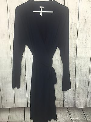 MATERNITY ROBE A Pea In The Pod Navy Blue Stretch Soft Short Robe Size Large (Q)