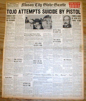 1945 headline newspaper WW II Japanese War Leader HIDEKI TOJO attempts SUICIDE