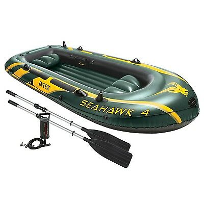 Intex Seahawk 4 4-Person Inflatable Boat Set with Aluminum Oars and High Outp...