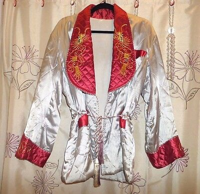 Vtg Asian Quilted Grey Satin Lounging Jacket/robe, Red Trim, Embr W/gold Dragon