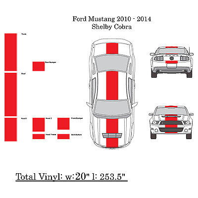 "Ford Mustang Shelby Cobra 2010- 2014 20"" Racing Stripe Decal Kit"