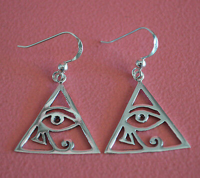 925 Sterling Silver Eye of Ra Dangle Hook Earrings Egyptian Eye of Horus Earring
