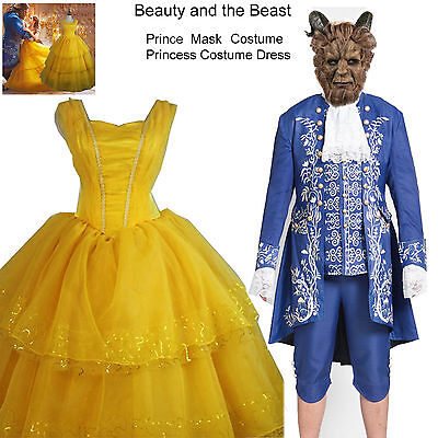 Beauty and The Beast Princess Belle Cosplay Costume Dress Prince Costume  Mask