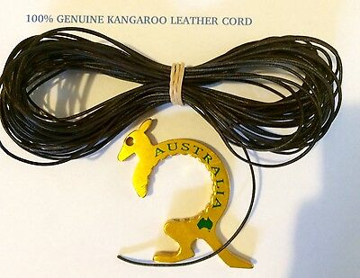Kangaroo ROUND CORD CHOCOLATE Kangaroo Leather cord 1mm Width 10 meter hank NEW