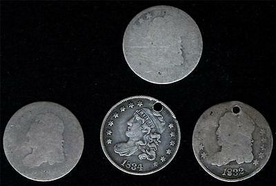 4 pcs Bust Half Dimes worn or Holed Great for Date Fillers Jewelry Leather Items