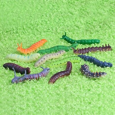 12x Twisty Worm Realistic Fake Caterpillar Insect  Educational Trick Toy Plastic