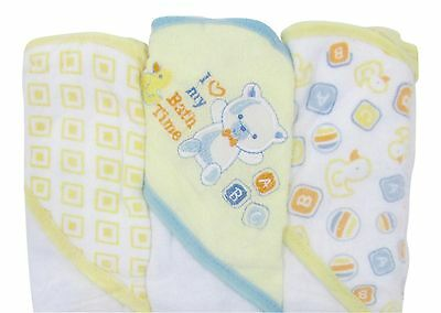 Cudlie 3-pack I Love My Bath Time Hooded Towels One Size Yellow