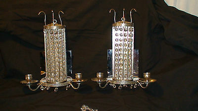 Art Deco Chromed Nickle Plated Candle Wall Sconces  Pair