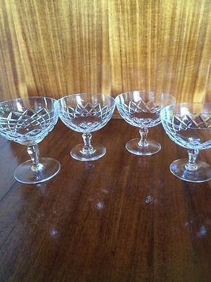 4 X Antique Vintage Odd Selection  Diamond Cut Crystal Footed Dessert Bowls