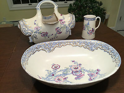 Rare 1800s DOULTON BURSLEM 3-Piece English Pottery ROYLES PATENT TOILET AQUARIUS