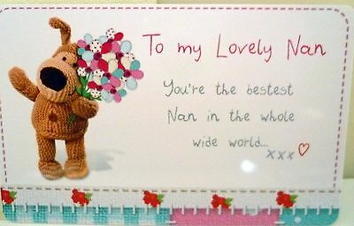 """boofle"" Heart Warmer Keepsake Message Card ""to My Lovely Nan"" For Mother's Day"