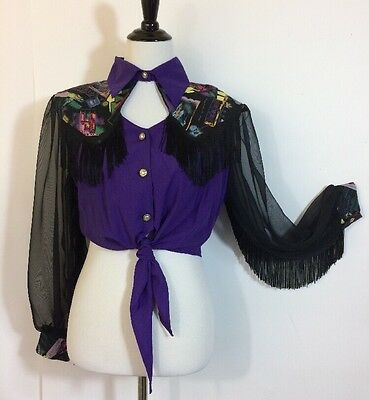 Vtg Fringe Shirt M L Western Crop Tie Top Cut Out Neck Rockabilly Rodeo Cowgirl