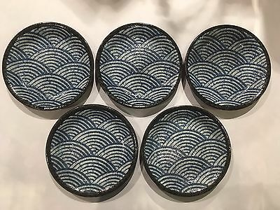 Japanese Torizara Small Plate x 5 - Blue wave - Stoneware - Made in Japan  F/S