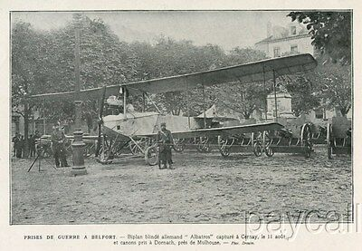 1914 Print WW I Captured German Albatros Airplane and Guns in Belfort