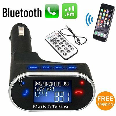 Bluetooth Car Kit Radio Adapter Handsfree FM Transmitter for iPhone Android HTC~