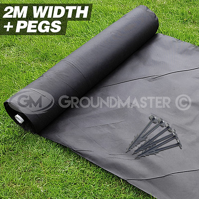 2M Wide Groundmaster  Weed Control Fabric Landscape Cover Membrane + Pegs