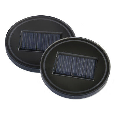2pcs Car Solar Energy Cup Holder Bottom Pad Mat Blue LED Light Cover Lamp Decor
