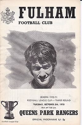 FULHAM v QUEENS PARK RANGERS ~ FOOTBALL LEAGUE CUP 3RD ROUND ~6 OCTOBER 1970