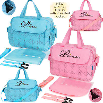 New 6 PEICE Nappy Diaper Changing Baby Prince Princess Hospital Large Bag Set
