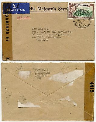 JAMAICA WW2 CENSORED OFFICIAL ENVELOPE OHMS AIRMAIL 1/- to GB