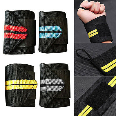 Power Weight Lifting Wrist Brace Hand Wraps Supports Gym Training Straps Bandage