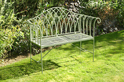 Ornate Metal Frame Sage Bench Garden Outdoor Barcelona Seating Patio