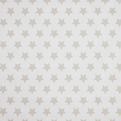 White and Beige Star PVC Vinyl Oilcloth Tablecloth Wipeclean Multiple Sizes
