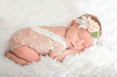 Newborn Photography White Lace Romper Costume Baby Crochet Photo Props Outfit