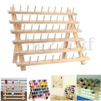 60 Spools Thread Rack Wood Fold Mini Sewing Embroidery Storage Stand Holder NEW