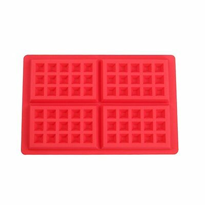 Silicone Rectangle Waffles Pan Cake Baking Mould Mold Waffle Red Tray