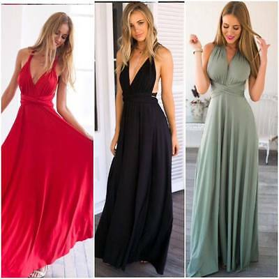 Ladies Womens Multiway Dress Summer Halter Back Long Chiffon Bridesmaid Maxi
