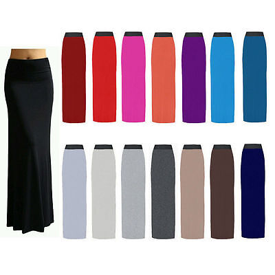 WOMENS JERSEY LONG MAXI GYPSY CELEB INSPIRED BODY CON SKIRT PLUS SIZE 8-26