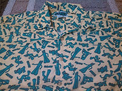 Vintage Medium 1990's Crazy Gumby All Over Print Button Up Shirt