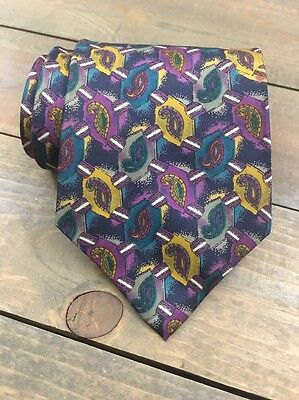 Blair Teal Purple Gold Paisley Geometric Classic Silk Mens Neck Tie